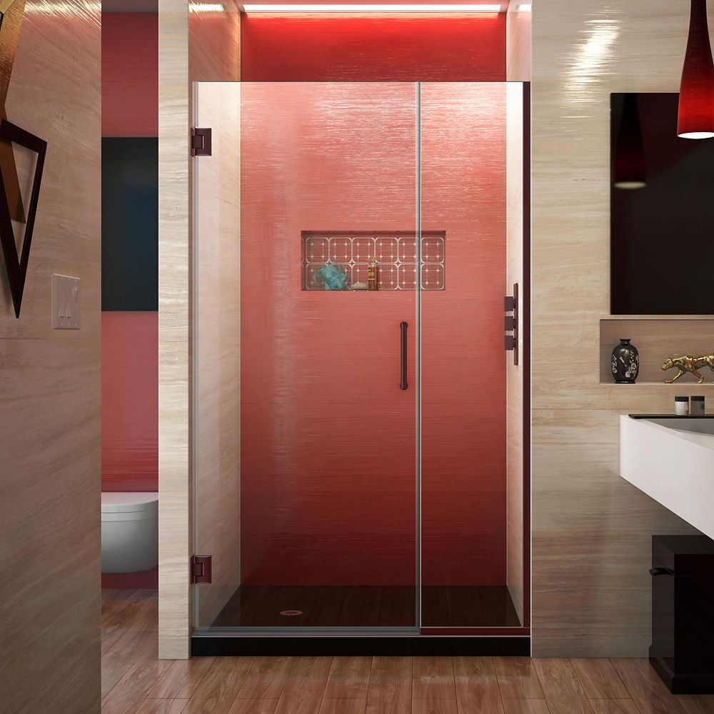 DreamLine Unidoor Plus 41-1/2 to 42-inch x 72-inch Semi-Frameless Pivot Shower Door with Hardware in Oil Rubbed Bronze with Handle