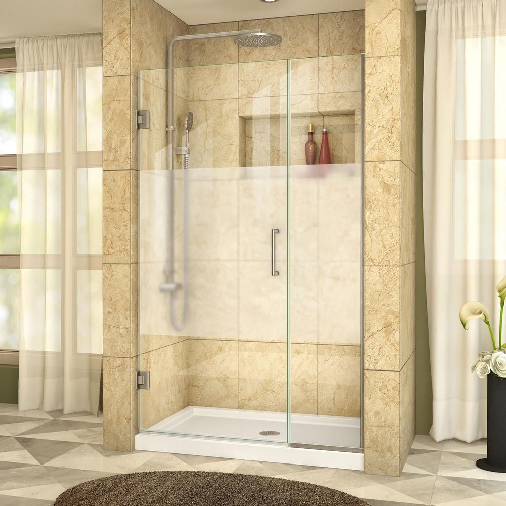 DreamLine Unidoor Plus 41-1/2 to 42-inch x 72-inch Semi-Frameless Hinged Shower Door with Half Frosted Glass in Brushed Nickel