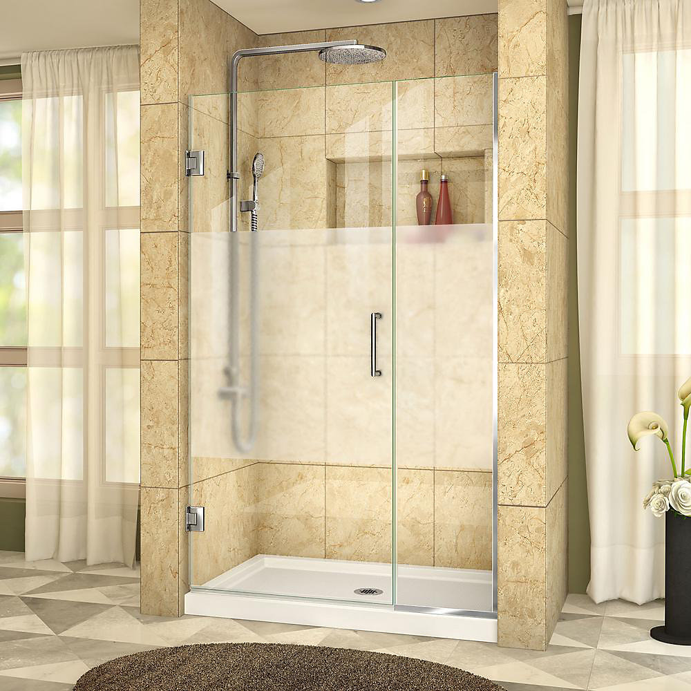 Unidoor Plus 42 to 42-1/2-inch x 72-inch Semi-Frameless Hinged Shower Door with Half Frosted Glass in Chrome