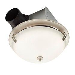 Nutone Ventilateur de salle de bain décoratif,finition en nickel satiné, 110 PCM, 2.0 Sones- ENERGY STAR®