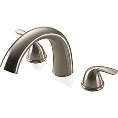 Two Handle Roman Tub Complete Rough and Trim, Stainless