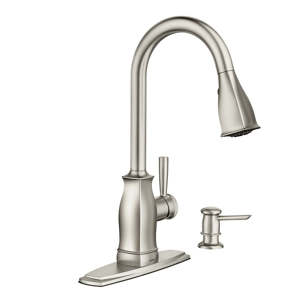 moen kitchen faucets home depot moen benton 1 handle pulldown kitchen faucet 25238