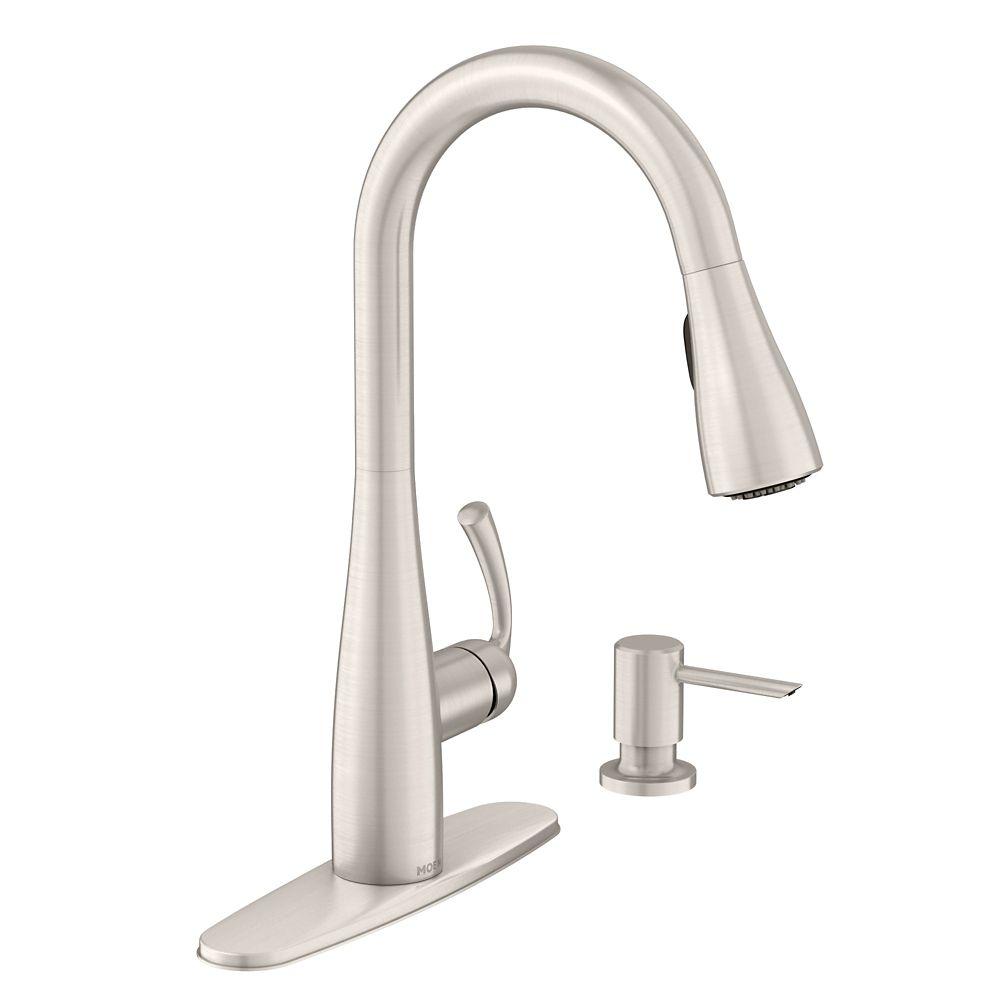 Moen Essie Single-Handle Pull-Down Sprayer Kitchen Faucet with Reflex in Spot Resist Stainless