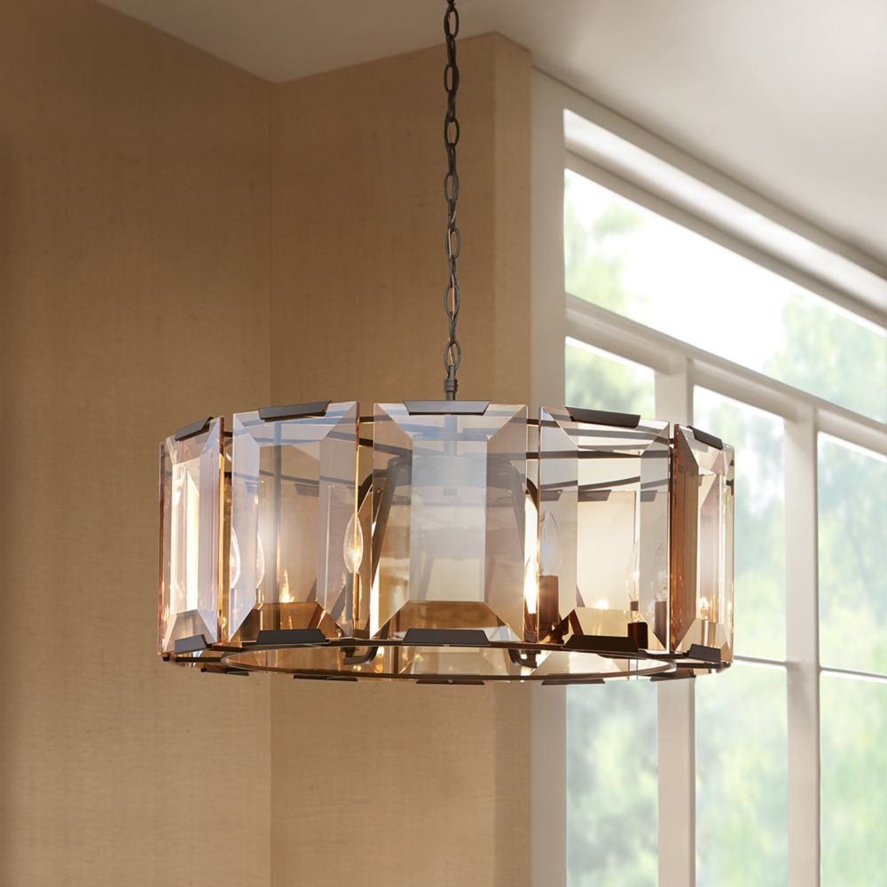 Home Decorators Collection 6-Light 60W Satin Black Pendant with Amber Glass Accents