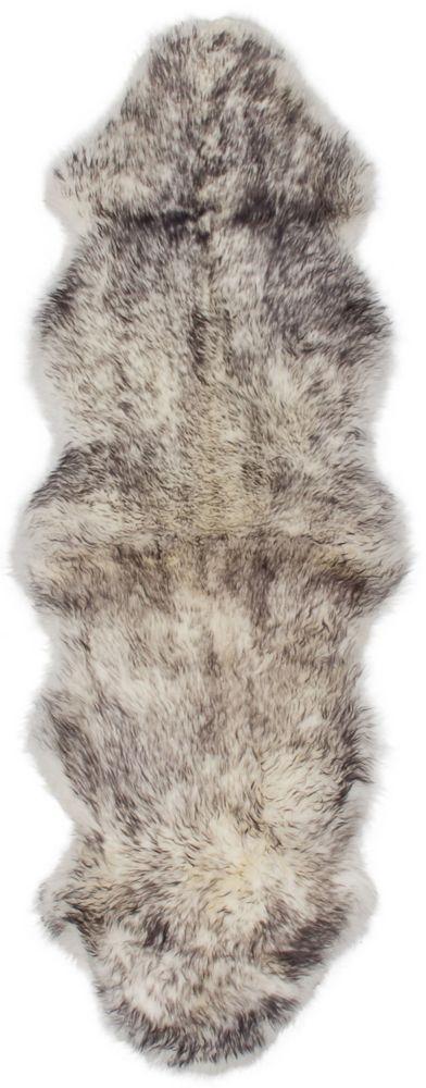 Luxurious Sheepskin Gray Tip Sheepskin Rug 2Feet x 6Feet Area Rug