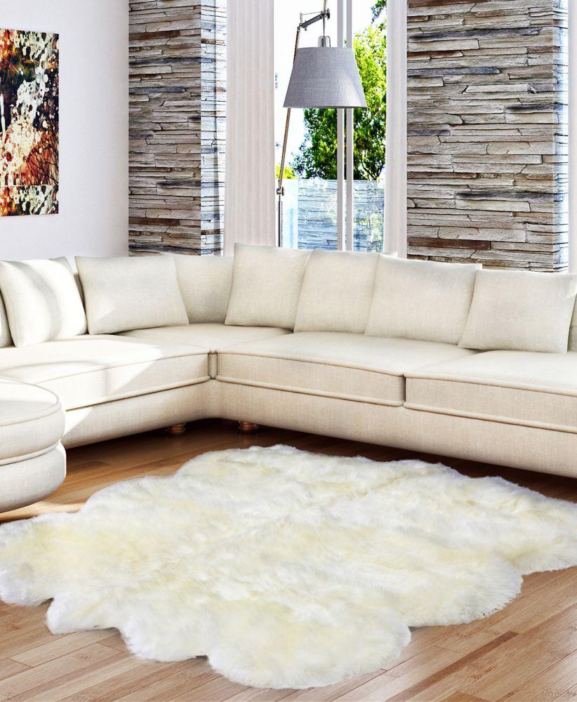 Luxurious Sheepskin Ivory Sheepskin Rug 5Feet x 6Feet Area Rug