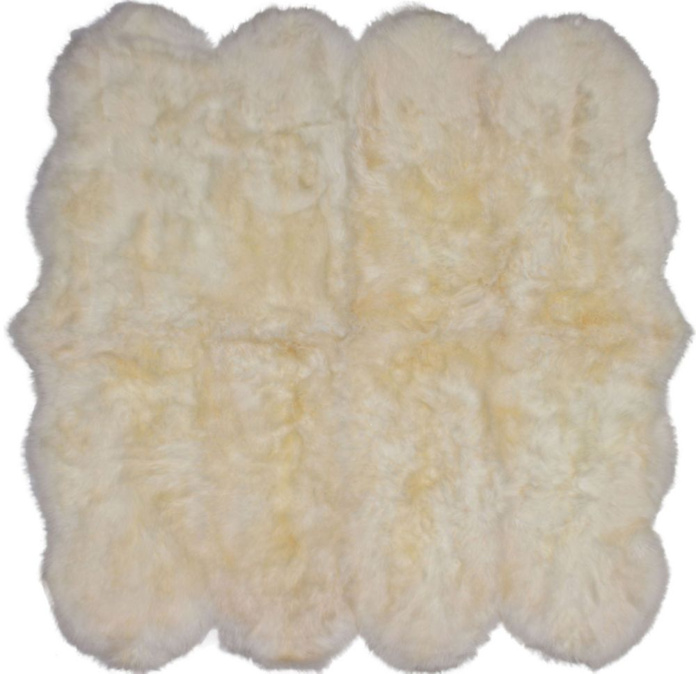 Luxurious Sheepskin Ivory Sheepskin Rug 6Feet x 6Feet Area Rug