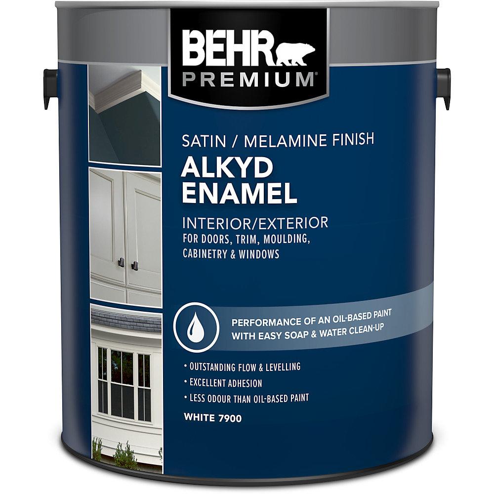 Interior/Exterior Alkyd Satin Enamel, Melamine Finish Paint - White Base,  3 7 L