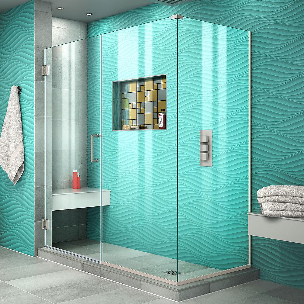 Unidoor Plus 30-3/8-inch x 55-inch x 72-inch Hinged Shower Enclosure in Brushed Nickel