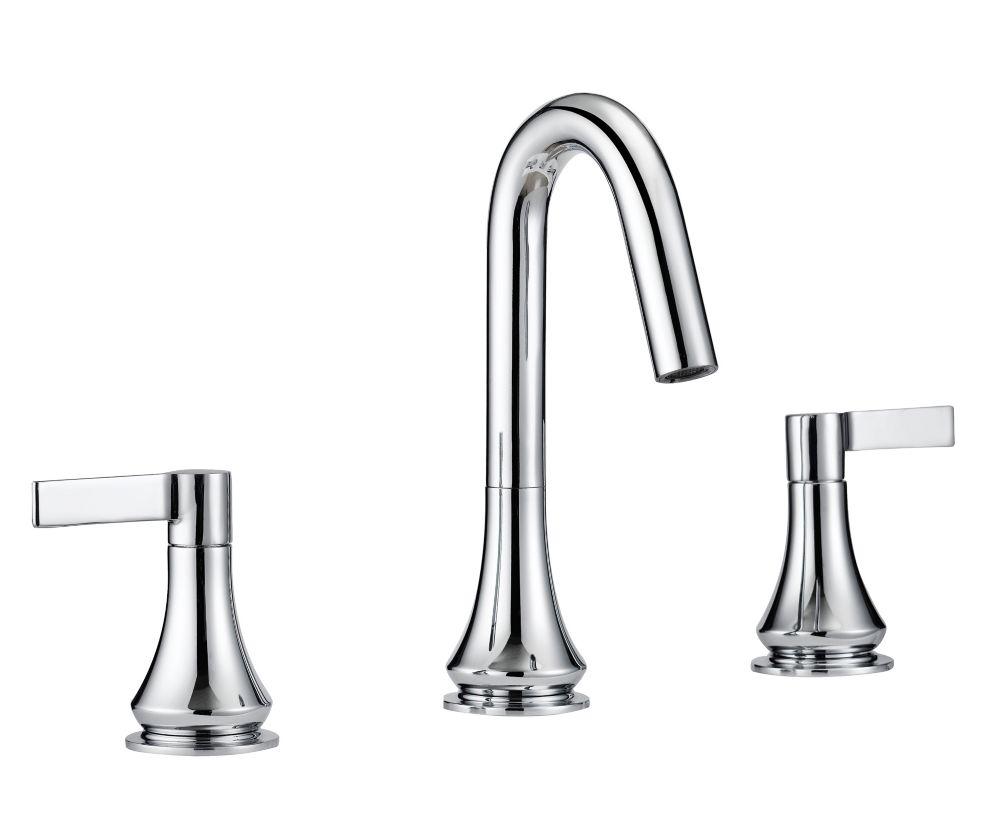 GLACIER BAY Springbrook Widespread (8-inch) 2-Handle High Arc Bathroom Faucet in Chrome with Lever Handles
