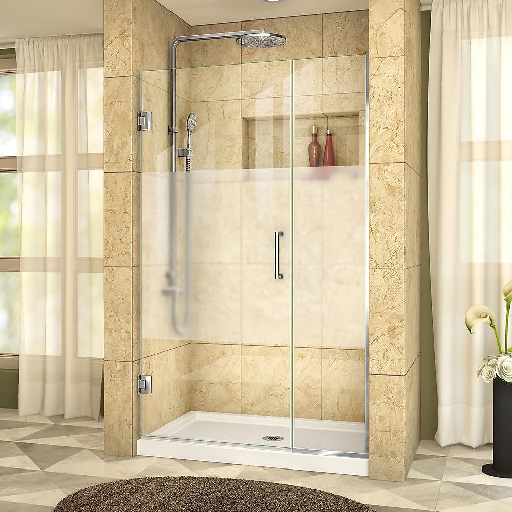 DreamLine Unidoor Plus 112 x 183 cm Porte de douche Articulée Sans cadre, Chrome, Verre demi-givré
