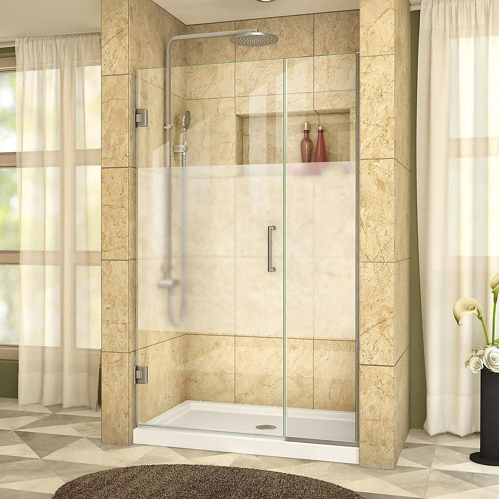 Unidoor Plus 43-1/2 to 44-inch x 72-inch Semi-Frameless Hinged Shower Door with Half Frosted Glass in Brushed Nickel