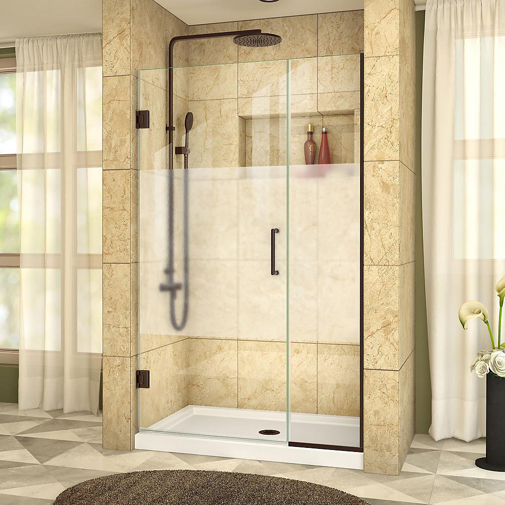 Unidoor Plus 43-1/2 to 44-inch x 72-inch Semi-Frameless Hinged Shower Door with Half Frosted Glass in Oil Rubbed Bronze