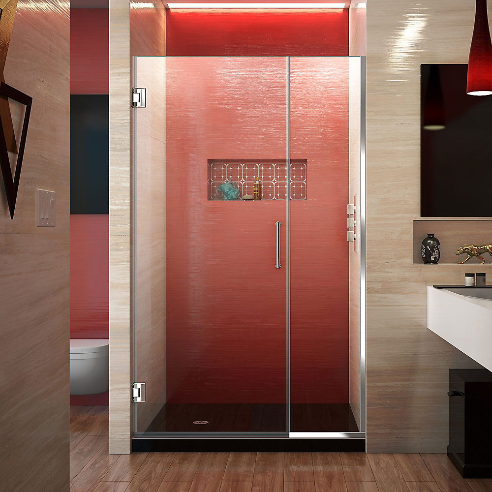Unidoor Plus 44 to 44-1/2-inch x 72-inch Semi-Frameless Hinged Shower Door with Hardware in Chrome