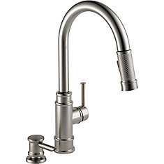 Allentown Single Handel Pull-Down Kitchen Faucet with Soap Dispenser in Stainless Steel