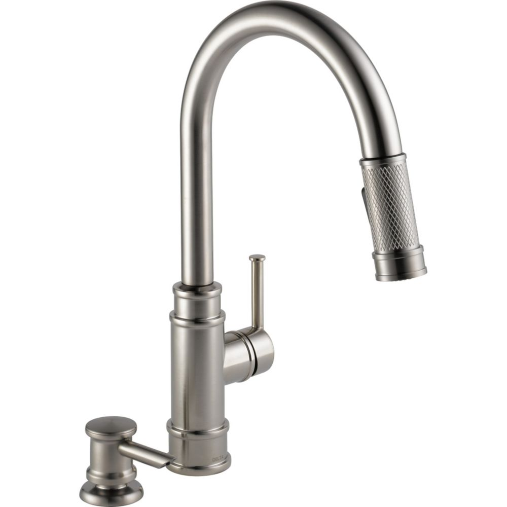 Delta Allentown Single Handel Pull-Down Kitchen Faucet with Soap Dispenser in Stainless Steel