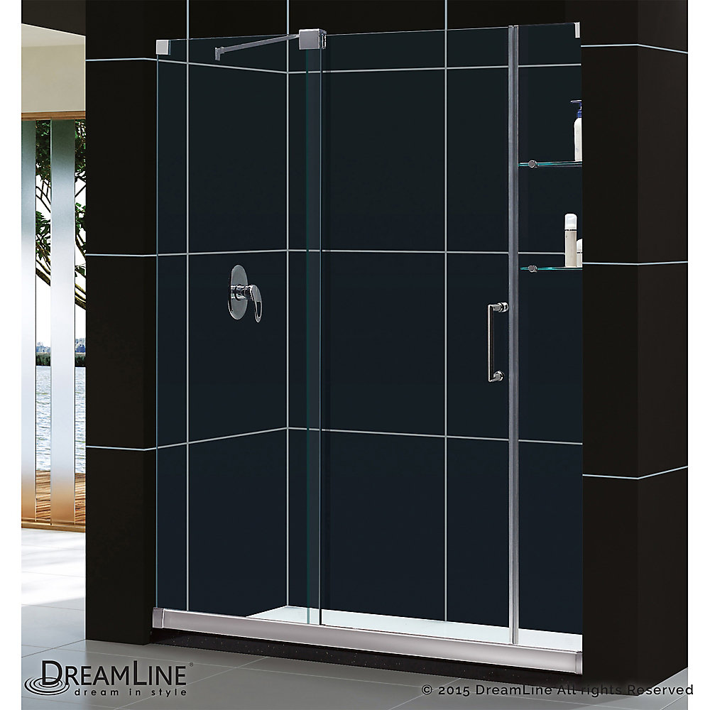 Mirage 34 in. x 60 in. x 74-3/4 in. Semi- Sliding Shower Door in Chrome with Right Hand Drain Base