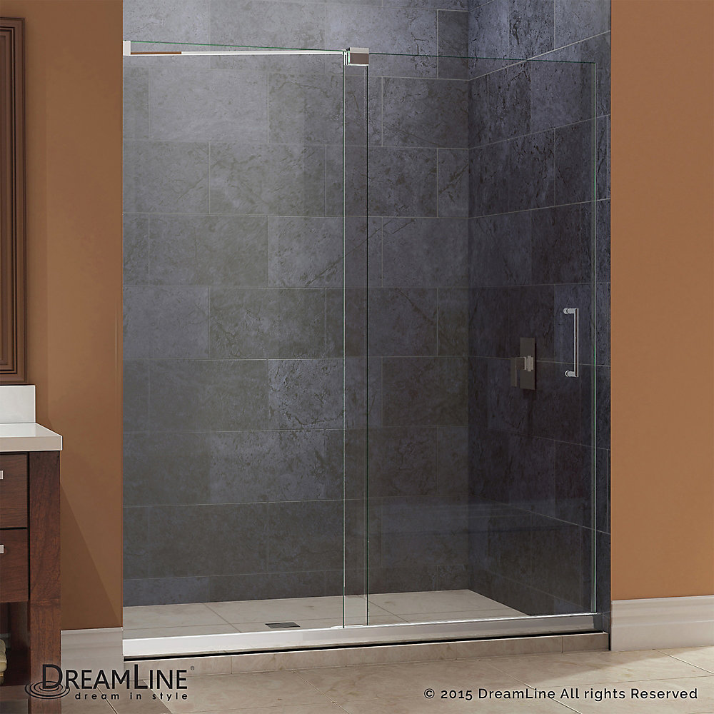 Mirage 32 in. x 60 in. x 74-3/4 in. Semi- Sliding Shower Door in Chrome with Left Hand Drain Base