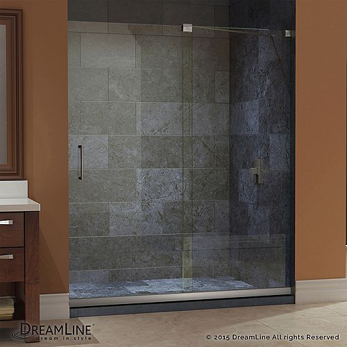 DreamLine Mirage 34 in. x 60 in. x 74-3/4 in. Sliding Shower Door in Brushed Nickel with Left Hand Drain Base