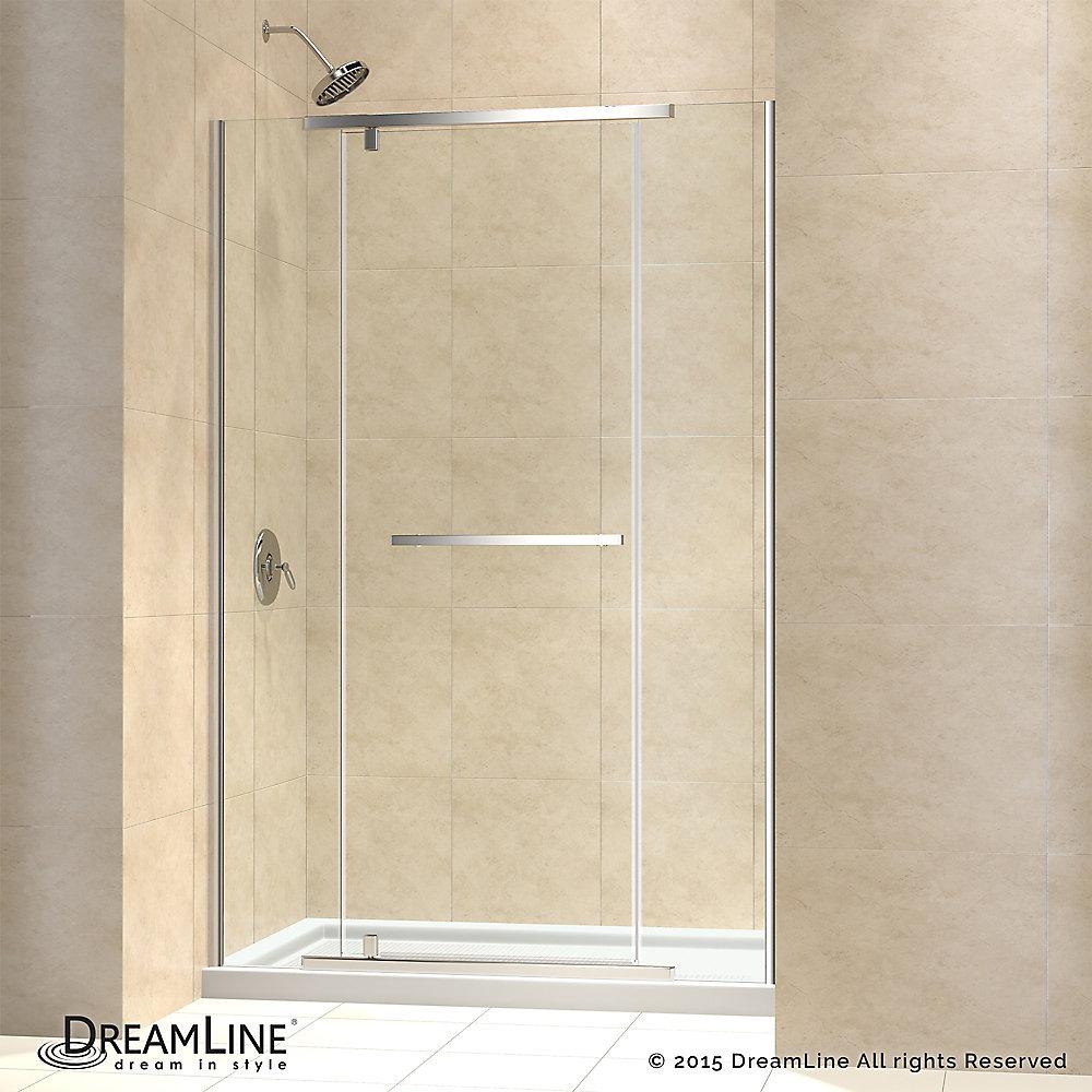 Vitreo-X 36-inch x 48-inch x 74.75-inch Semi-Frameless Pivot Shower Door in Chrome with Center Drain White Acrylic Base