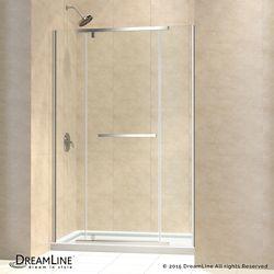 DreamLine Vitreo-X 30-inch x 60-inch x 74.75-inch Semi-Frameless Pivot Shower Door in Brushed Nickel and Center Drain White Acrylic Base