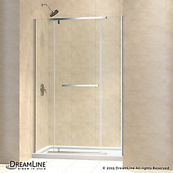 DreamLine Vitreo-X 32-inch x 60-inch x 74.75-inch Semi-Frameless Pivot Shower Door in Chrome with Center Drain White Acrylic Base