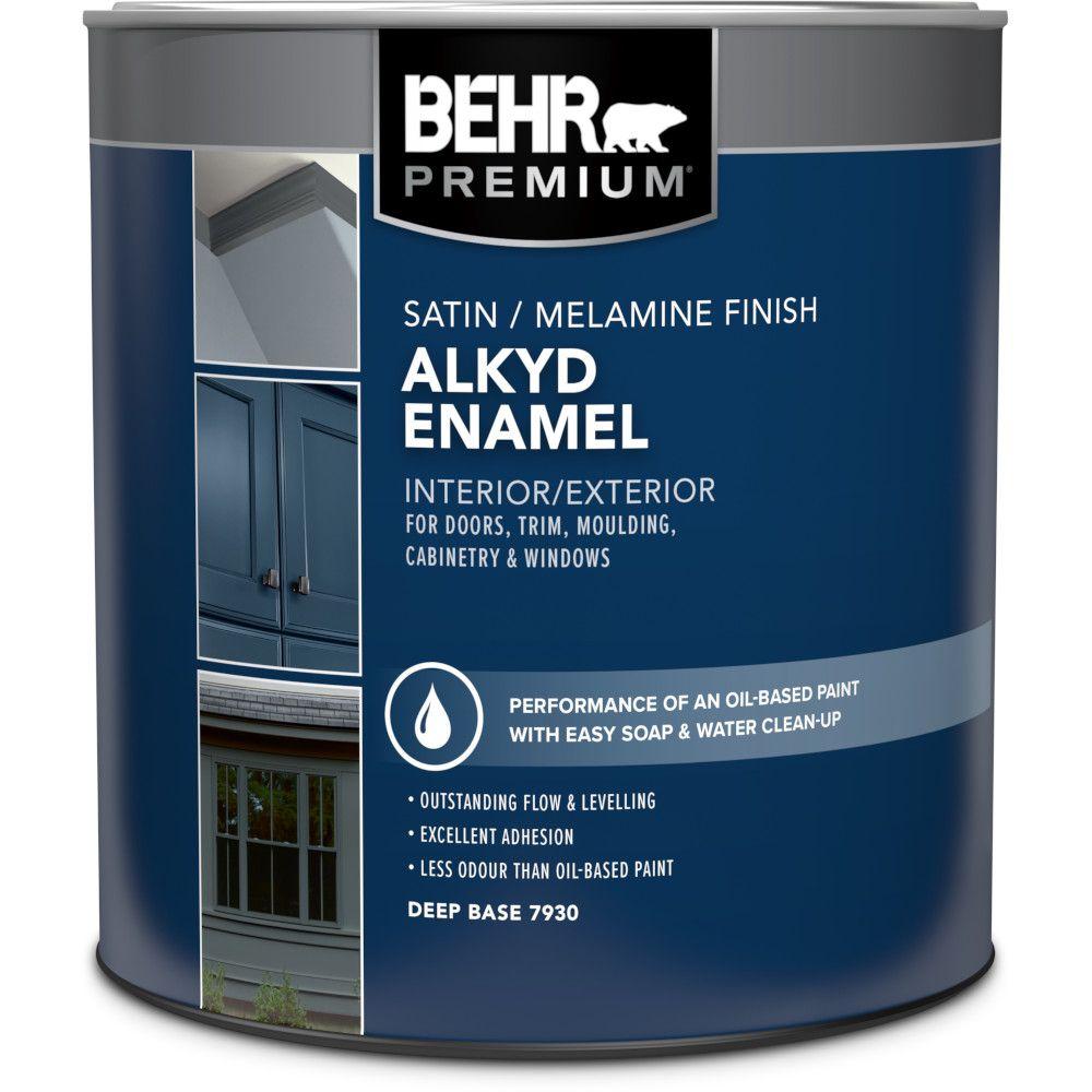 Interior/Exterior Alkyd Satin Enamel, Melamine Finish Paint - Deep Base, 946 Ml