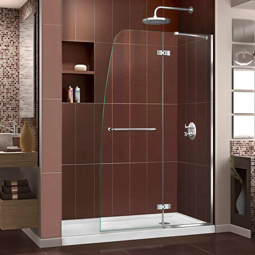 DreamLine Aqua Ultra 32-inch x 60-inch x 74.75-inch Semi-Frameless Hinged Shower Door in Chrome with Right Drain Acrylic Base