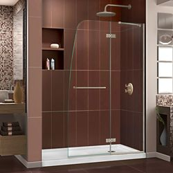 DreamLine Aqua Ultra 32-inch x 60-inch x 74.75-inch Semi-Frameless Hinged Shower Door in Brushed Nickel with Right Drain Acrylic Base