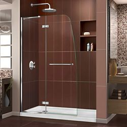 DreamLine Aqua Ultra 34-inch x 60-inch x 74.75-inch Semi-Frameless Hinged Shower Door in Chrome and Left Drain White Acrylic Base