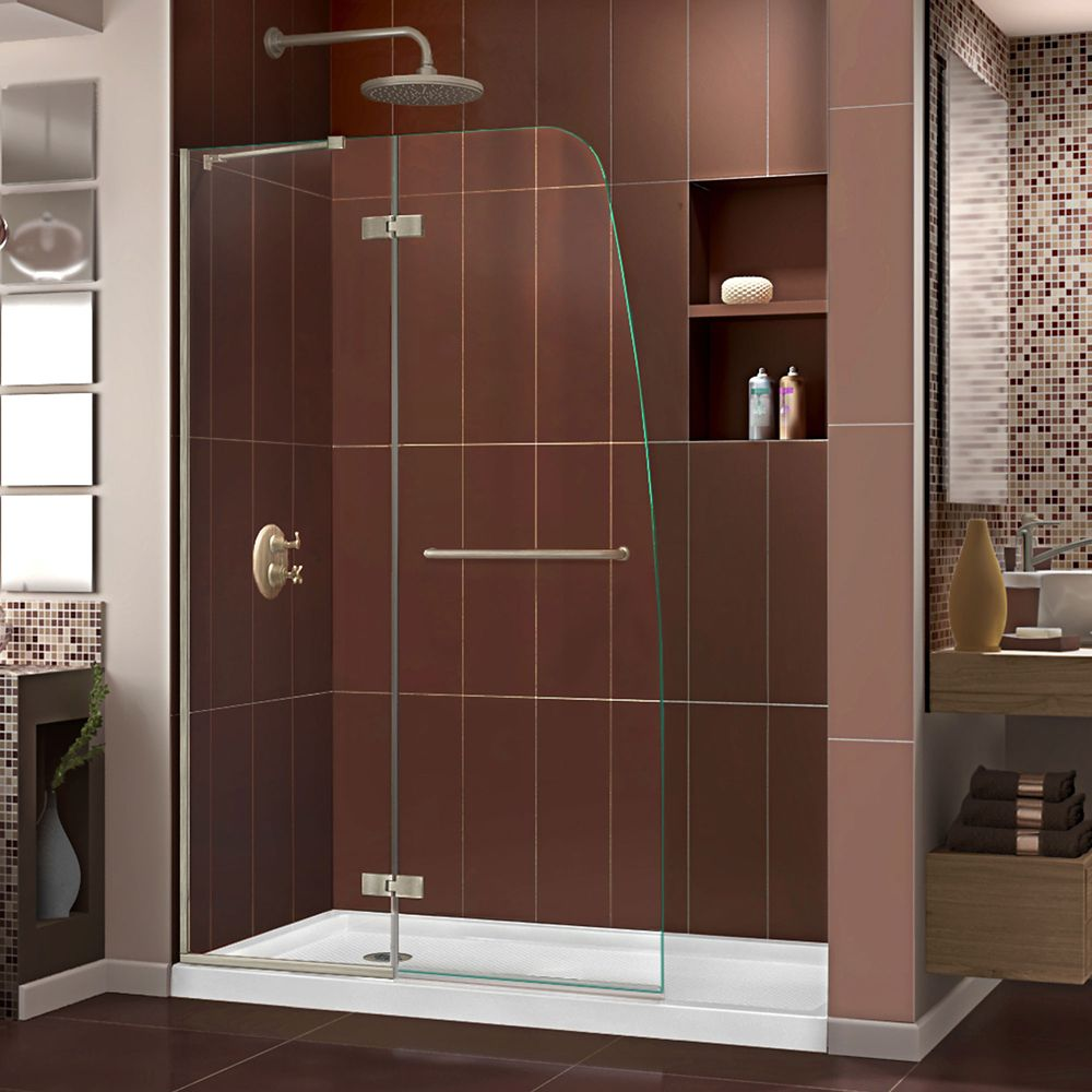 DreamLine Aqua Ultra 34-inch x 60-inch x 74.75-inch Semi-Frameless Hinged Shower Door in Brushed Nickel with Left Drain Acrylic Base