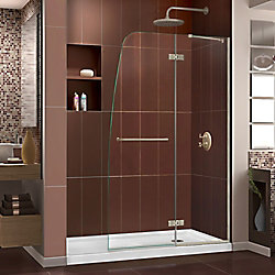DreamLine Aqua Ultra 34-inch x 60-inch x 74.75-inch Semi-Frameless Hinged Shower Door in Brushed Nickel with Right Drain Acrylic Base