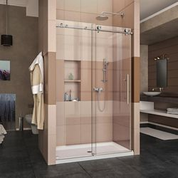 DreamLine Enigma-X 36-inch x 48-inch x 78.75-inch Frameless Sliding Shower Door in Brushed Stainless Steel and Center Drain Base
