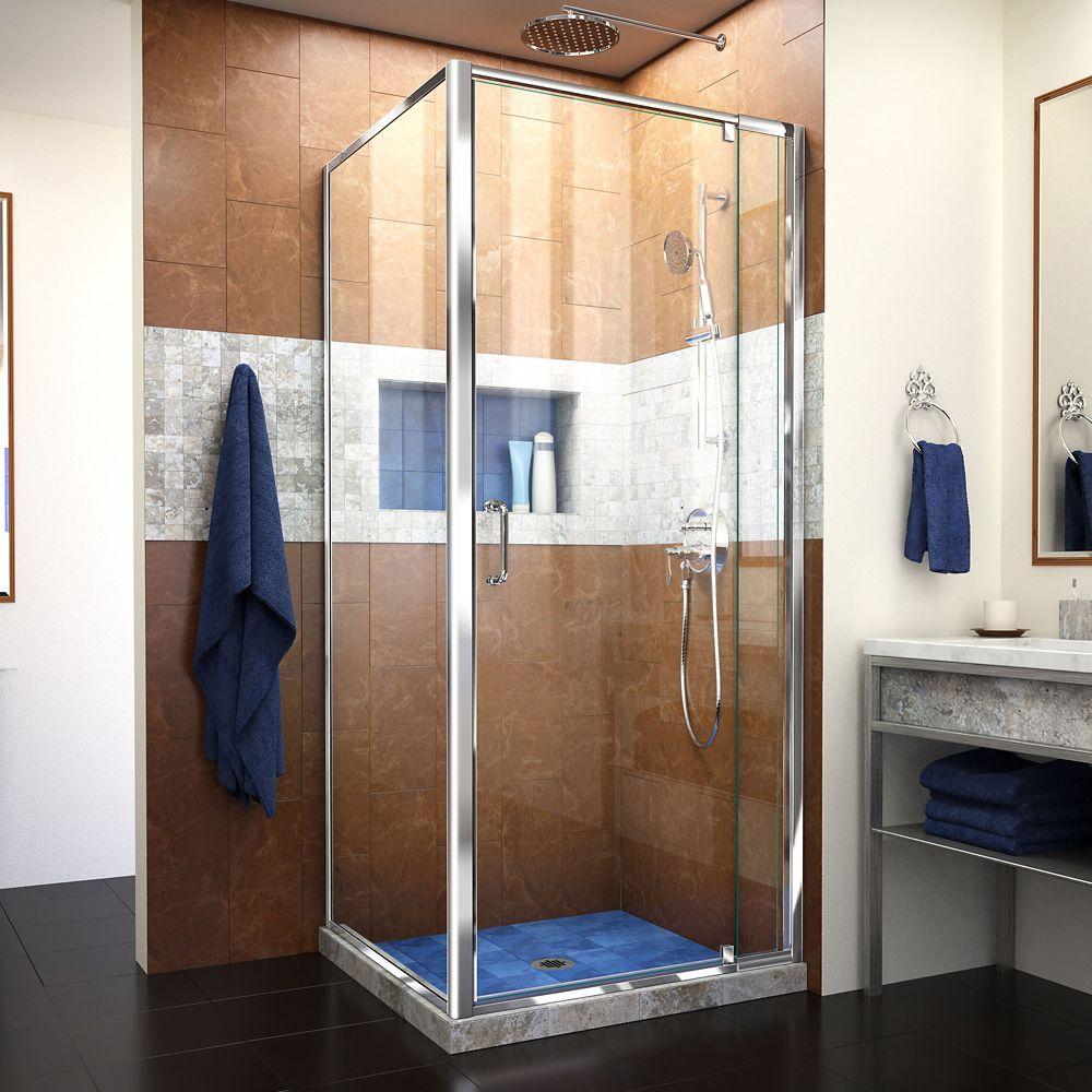 Flex 32-7/16-inch to 36-7/16-inch x 34-1/2-inch x 72-inch Framed Pivot Shower Door in Chrome