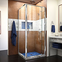 Flex 32-7/16-inch to 36-7/16-inch x 34-1/2-inch x 72-inch Framed Pivot Shower Door in Chrome