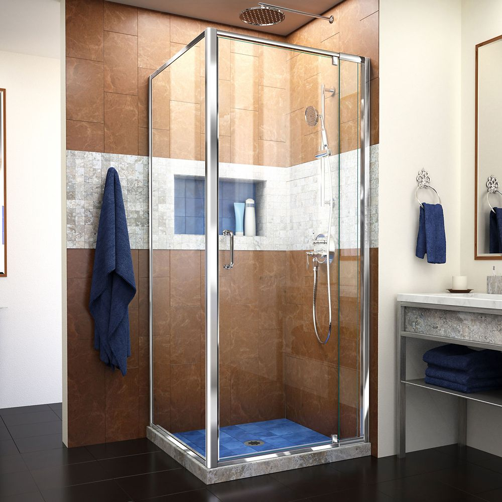 DreamLine Flex 32-7/16-inch to 36-7/16-inch x 34-1/2-inch x 72-inch Framed Pivot Shower Door in Chrome