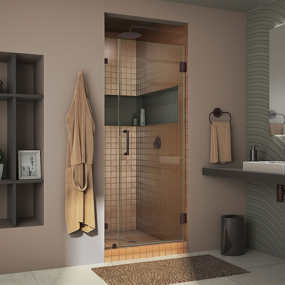 Unidoor Lux 33-inch x 72-inch Frameless Pivot Shower Door in Oil Rubbed Bronze with Handle