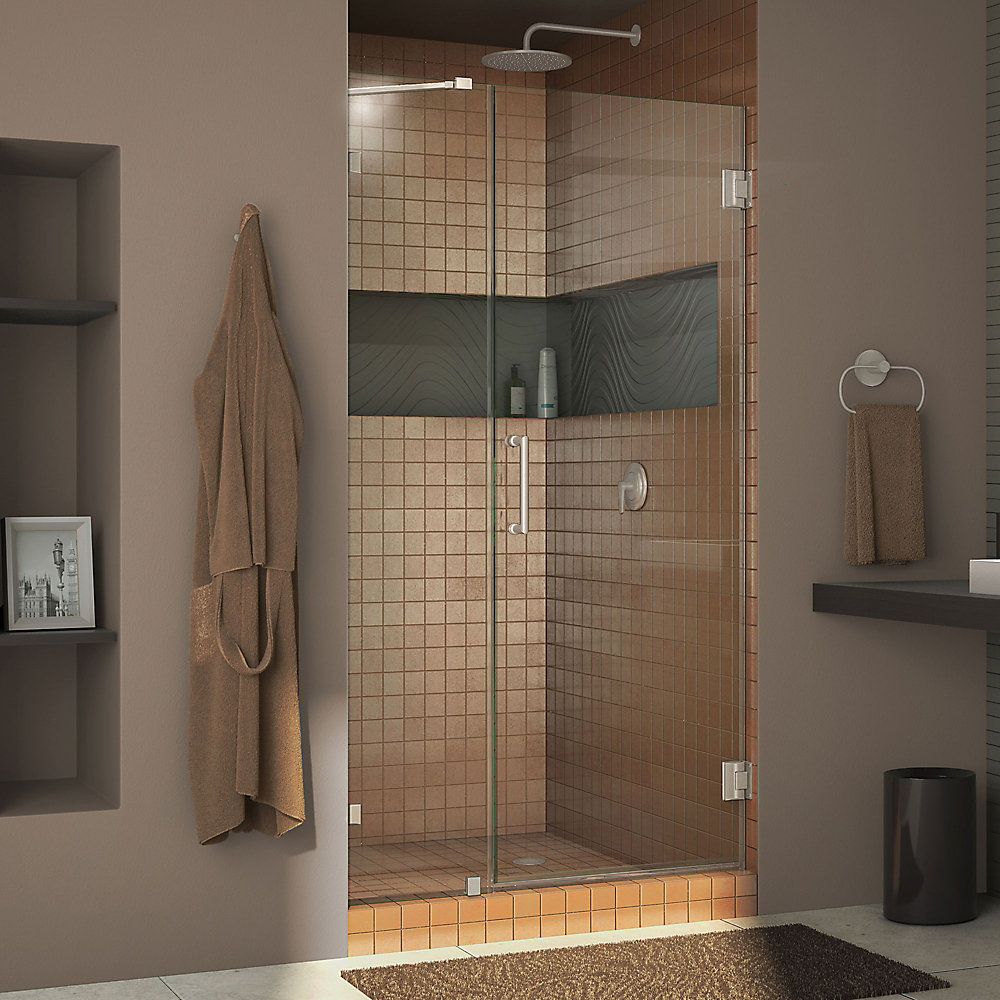 Unidoor Lux 37-inch x 72-inch Frameless Pivot Shower Door in Brushed Nickel with Handle