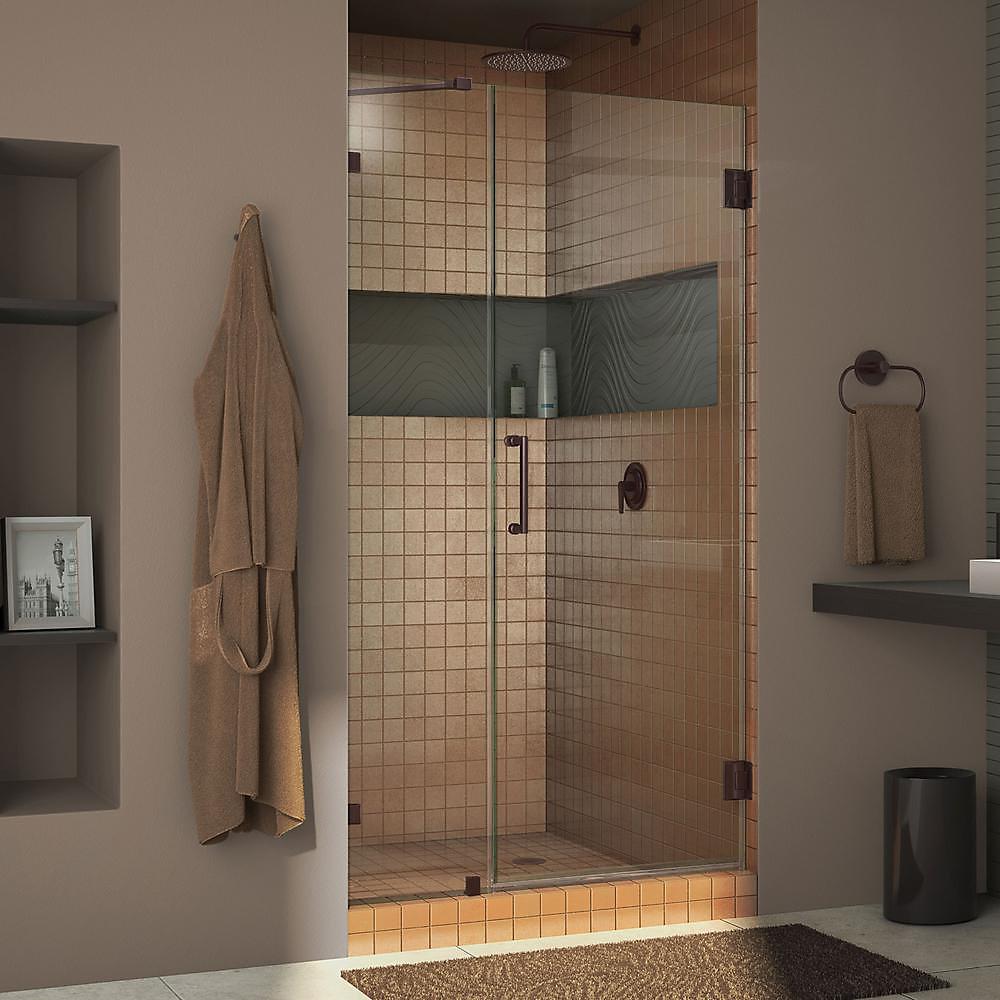 DreamLine Unidoor Lux 94 cm x 183 cm Porte de douche Articulée Sans cadre, fini Bronze Huilé