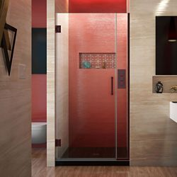 DreamLine Unidoor Plus 29 to 29-1/2-inch x 72-inch Semi-Frameless Pivot Shower Door in Oil Rubbed Bronze with Handle