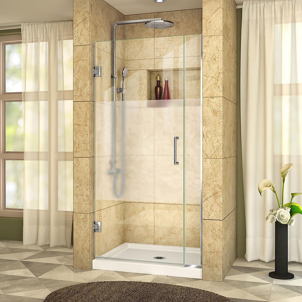 DreamLine Unidoor Plus 75 x 183 cm Porte de douche Articulée Sans cadre, Chrome, Verre demi-givré