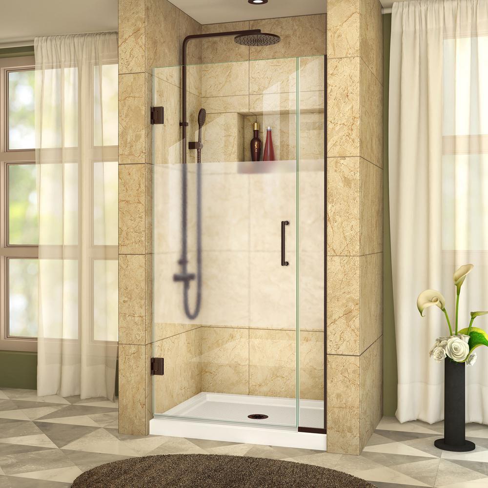 DreamLine Unidoor Plus 29-inch to 29-1/2-inch x 72-inch Hinge Shower Door with Half Frosted Glass in Oil Rubbed Bronze