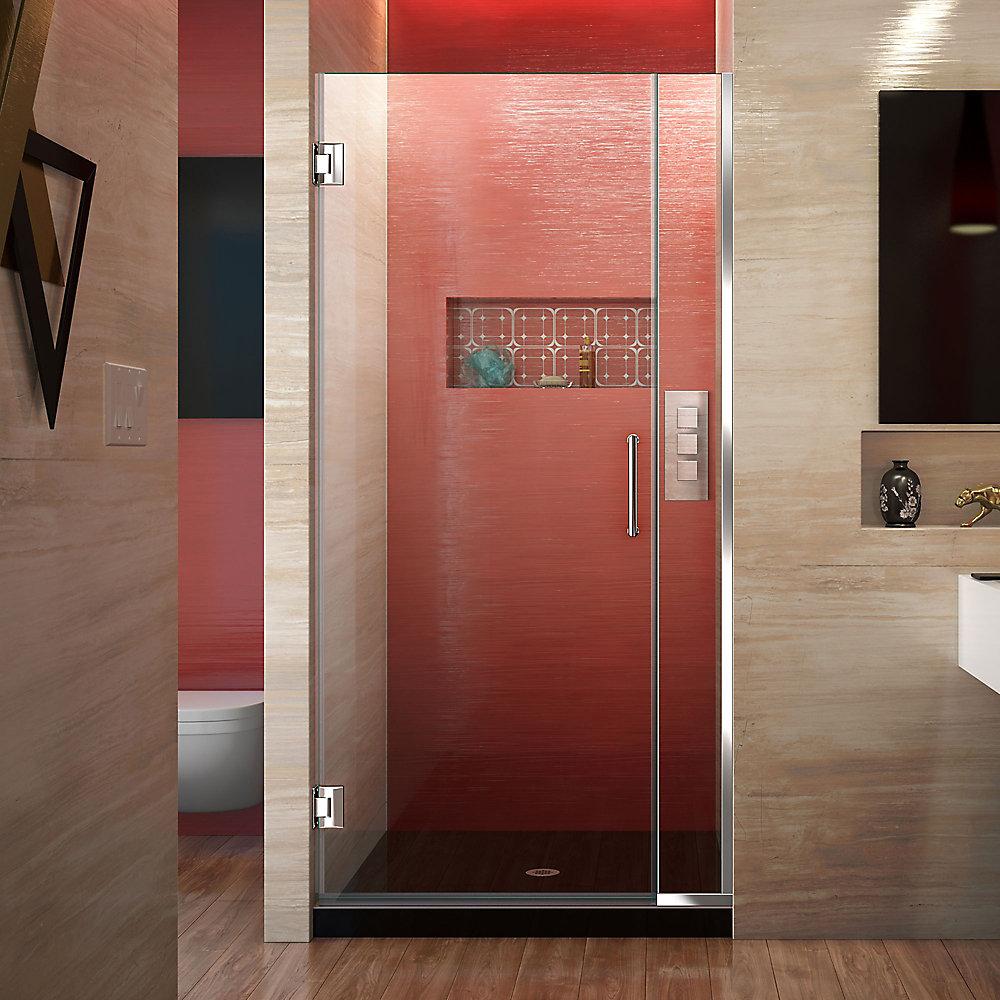 Unidoor Plus 29-1/2-inch to 30-inch x 72-inch Semi-Frameless Pivot Shower Door in Chrome with Handle