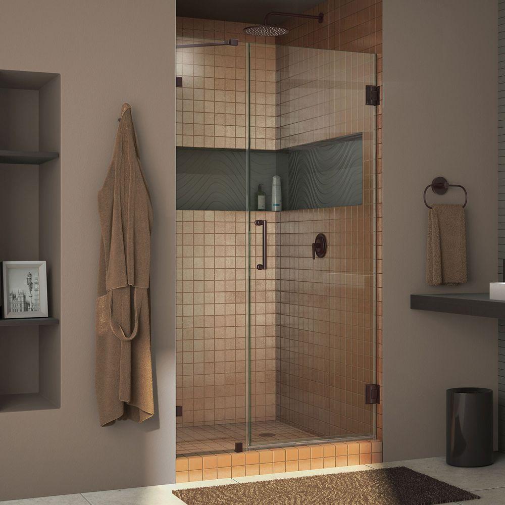 DreamLine Unidoor Lux 42-inch x 72-inch Frameless Pivot Shower Door in Oil Rubbed Bronze with Handle
