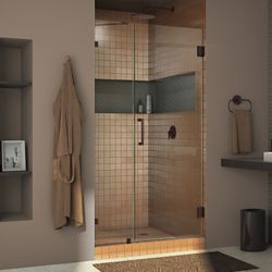DreamLine Unidoor Lux 43-inch x 72-inch Frameless Pivot Shower Door in Oil Rubbed Bronze with Handle