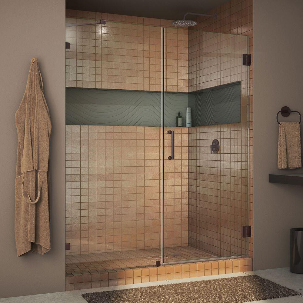 Unidoor Lux 48-inch x 72-inch Frameless Pivot Shower Door in Oil Rubbed Bronze with Handle