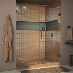 DreamLine Unidoor Lux 51-inch x 72-inch Frameless Pivot Shower Door in Oil Rubbed Bronze with Handle