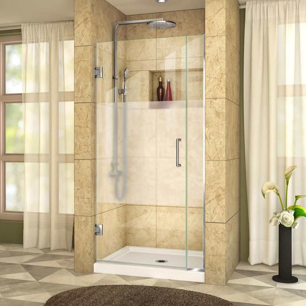 DreamLine Unidoor Plus 31-inch to 31-1/2-inch x 72-inch Hinge Shower Door with Half Frosted Glass in Chrome