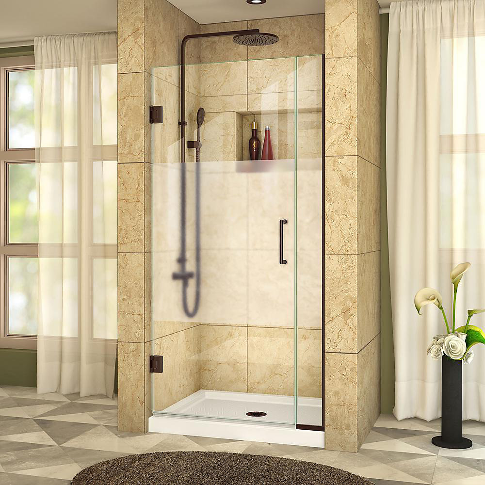 Unidoor Plus 31-inch to 31-1/2-inch x 72-inch Hinge Shower Door with Half Frosted Glass in Oil Rubbed Bronze