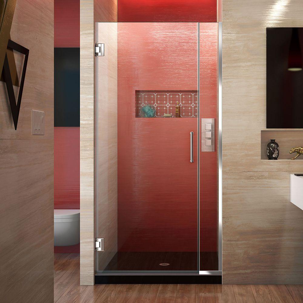 DreamLine Unidoor Plus 32 to 32-1/2-inch x 72-inch Semi-Frameless Hinged Shower Door in Chrome